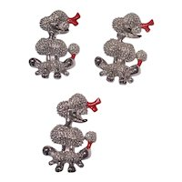 Set of 3 Coiffed French Poodle Scatter Pins in Silver tone & Red Accents