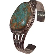 J Nelson Navajo Sterling Silver Turquoise Decorative Cuff