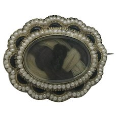 Antique Victorian Memorial Mourning Brooch 1861 Inscribed Gold Hair Pearls