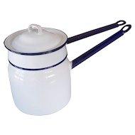 Vintage Enamel/Granite ware Double Boiler Pot Set White Cobalt Blue 1930's-40's