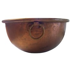 Antique E. Dehillerin Paris Copper Beating Mixing Domed Bowl