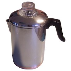 Revere Ware 8C Copper Clad Stove Top Coffee Percolator Stainless
