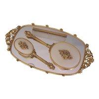 Matson Ormolu Vanity Tray, Hand Mirror, Brush, Comb Set Floral