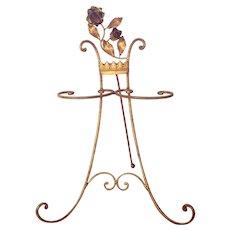 Vintage Italian Gilt Roses Easel Holder for Linens or Jewelry
