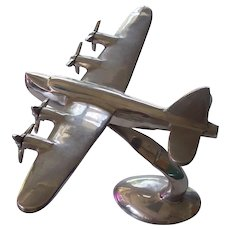 Chrome Airplane with Propellers Sculpture