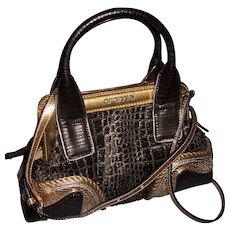 Cromia Gold Metallic & Leather Handbag Shoulder bag Purse
