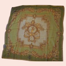 """Atelier Versace Green & Gold Baroque Scarf with Angels 34"""""""