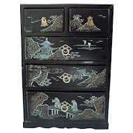 Asian Black Lacquer Mother of Pearl Jewelry Chest