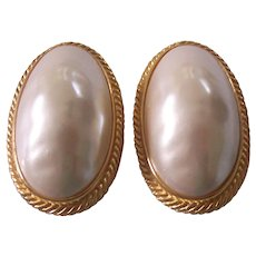 Large Givenchy Faux Mobe Pearl Gold tone Earrings