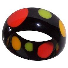 Black Lucite Polka Dot Orange Green Yellow Bangle Bracelet