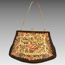 Great Vintage Purse with Fine Petite Point Embroidery of Roses