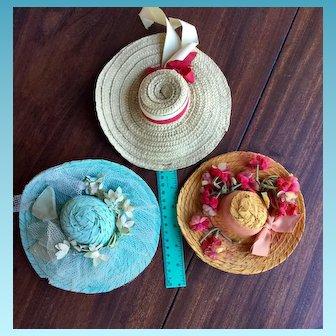 3 Antique / Vintage Doll Hats