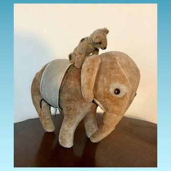 Adorable Antique Velvet Elephant possible Steiff plus antique Bear