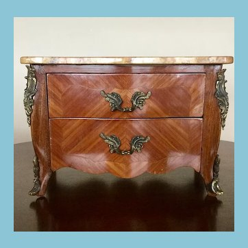Antique French Marble Top Bombe Chest of Drawers for Dolls