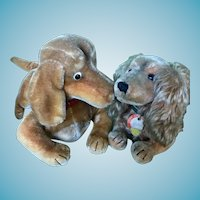 Very Cute Vintage Steiff Dachshund Dogs With IDs Waldi and Hexie