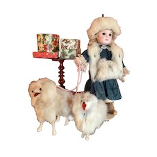 Adorable  Antique Portrait Jumeau Doll with her Puppies