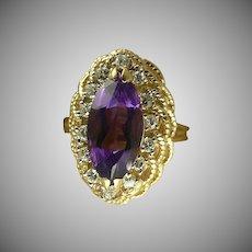 Gorgeous Amethyst Diamond 14kt Ring