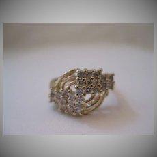 Vintage 14kt Diamond Ring - Art Deco Style