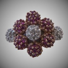 14kt Ruby  and Diamond Flower Ring