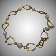 Retro Heart and Pearl Bracelet