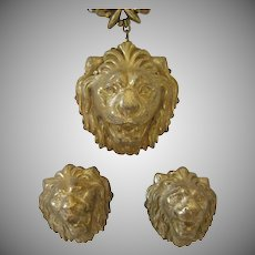 Vintage Miriam Haskell Lion Demi-Parure
