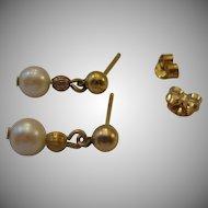 Sweet Estate Dangle Pearl Earrings 14kt