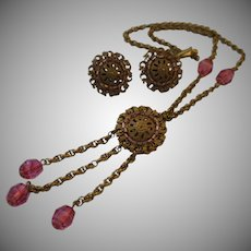 """Miriam Haskell (Frank Hess) """"Pate de Verre"""" Necklace and Earrings Set"""