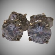 Estate 14kt Round Brilliant Diamond Earrings