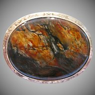 Estate 14kt Moss Agate Brooch