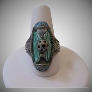 Vintage Egyptian Revival Faience Sterling Ring