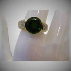 Estate 14kt Chrome Diopside and Diamond Ring