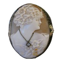 Vintage 14kt Shell Cameo with Diamond Necklace