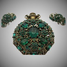 """Hollycraft """"Pocketwatch"""" Brooch and Matching Earrings, Circa 1951"""
