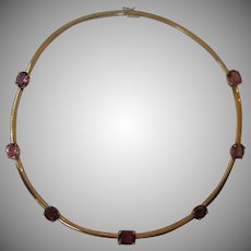 14kt Omega Necklace with Pink Tourmaline