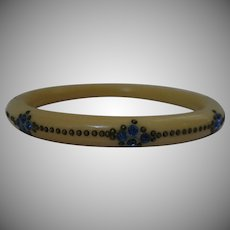 1940's Celluloid Bangle with Blue crystals