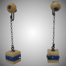 1940's Celluloid Blue Earrings