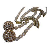 Valentino Couture Faux Pearl and Crystal Runway Necklace