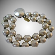 Vintage Miriam Haskell Faux Pearl Double Strand Bracelet