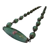 Czech Seafoam Green and Pink Necklace