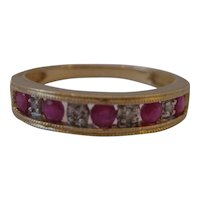 Vintage 14kt Ruby and Diamond Band