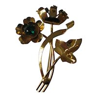 Vintage Sterling Vermeil Flower Pin 1940's