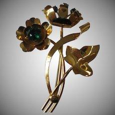 Vintage Sterling Vermeil Flower Pin 1940's