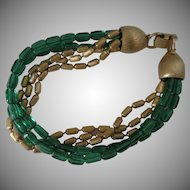 Vintage Napier Green and Antiqued Gold Bead Bracelet