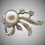 Vintage Cultured Pearl and Diamond Pin 14kt White Gold