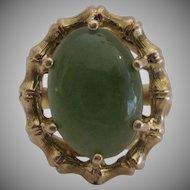 14kt Jade Ring Bamboo Design