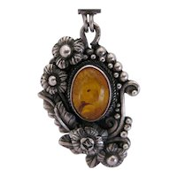 Beautiful Amber and Sterling Floral Pendant