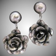 Vintage Sterling Silver Floral Dangle Earrings