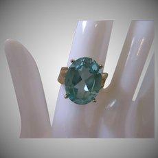 Vintage Blue Topaz Sterling Vermeil Ring