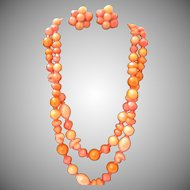 Hattie Carnegie Shades of Coral Necklace and Earrings