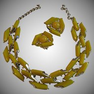 Vintage Leru Lemon Yellow Demi Parure
